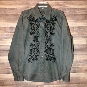 191 Unlimited Men's Embroidered Button Down Shirt
